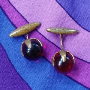1940s Marble French Cufflinks Shirt Studs